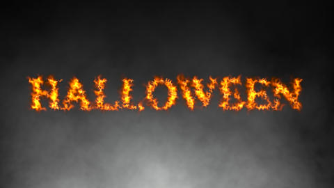 Fiery Halloween text with atmospheric smoke Animation