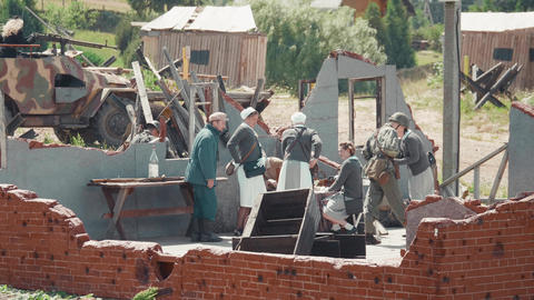 MINSK, BELARUS - JULY 03, 2019: WWII historical military reconstruction battle Footage