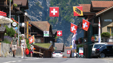 Typical village in the Swiss Alps - iconic Switzerland - SWISS ALPS, SWITZERLAND Live Action