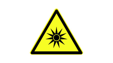 Warning symbol of optical radiation, animated, footage ideal for special effects Live Action