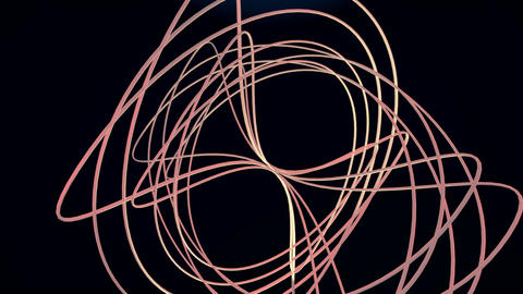 Spatial wireframe body, designed from copper wire, rotating about horizontal Animation