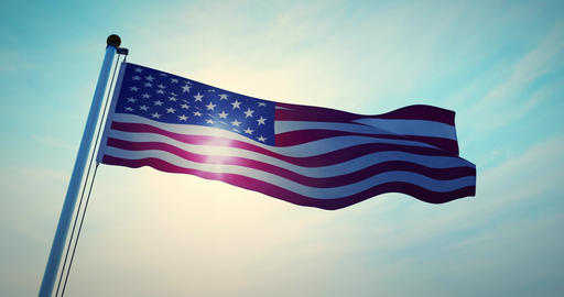 American Flag Waving In The United States Of America Shows Independence - Video 4k 30fps Animation