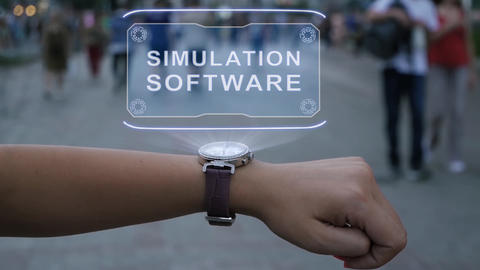 Female hand with hologram Simulation software Live Action