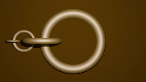 Moving golden circles, metallic chain on dark brown background, abstract 3d Animation