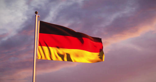 German Flag Waving Or Banner Flying Represents Federal Republic Of Germany - 4k 30fps Video Animation