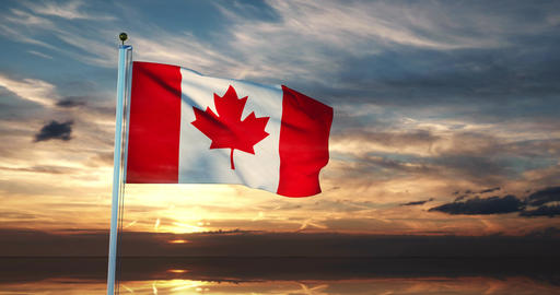 Flag Of Canada Waving In The Wind Has Canadian Maple Leaf Design - 30fps 4k Video Animation