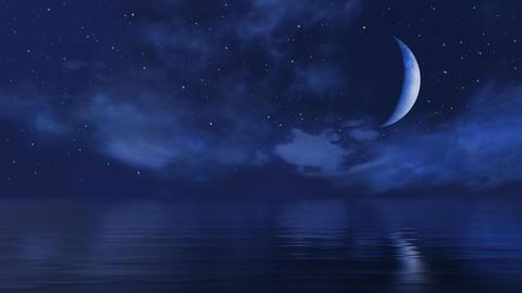 Half moon and falling stars in night sky above ocean 動画素材, ムービー映像素材