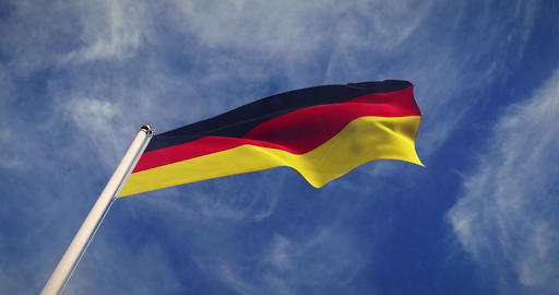 German Flagpole And Flag Waving Represents Federal Republic Of Germany - 4k 30fps Slow Motion Video Animation