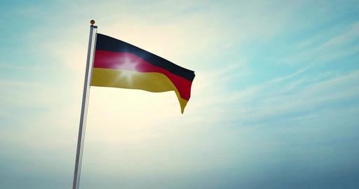 German Flagpole And Flag Waving Represents Federal Republic Of Germany - 4k 30fps Video Animation