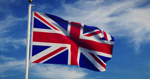 British Flag Waving Shows Union Jack United Kingdom National Banner - 30fps 4k Slow Motion Video Animation