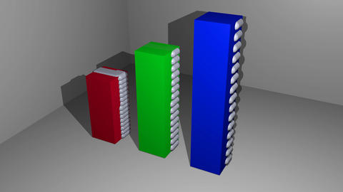 animation of sphere particles motion on red, green and blue cubic object, 3d Animation