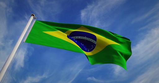Brazilian Flag Waving On A Flagpole For Brazil National Celebration - 30fps 4k Slow Motion Video Animation