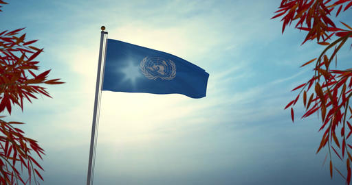 United Nations Organization Flag Waving Represents Un Council In New York - 4k 30fps Video Animation