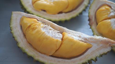 Malaysia famous fruits durian musang king, sweet golden creamy flesh Live Action