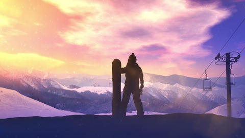 Snowboarder on a background of sunset in the mountains CG動画