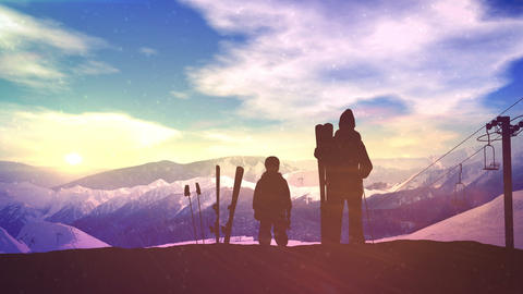 Father with son on the slope of the ski run Animation