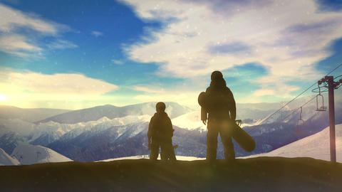Family with snowboards at the top of the mountainside CG動画