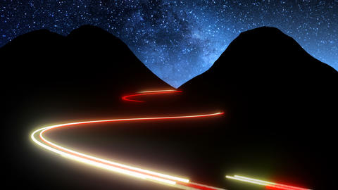 Time lapse of night mountains scenery with cars lights fast moving traces Live Action