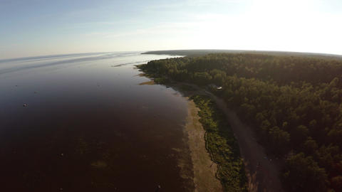 Aerial view. Flying over the coastline of the Gulf of Finland. 4K Footage