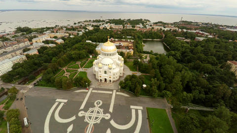 Aerial view. The architecture of Naval cathedral of Saint Nicholas in Kronstadt. Footage