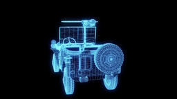Car in Hologram Wireframe Style. Nice 3D Rendering Animation