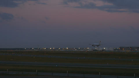 Airbus 320 landing at early morning Footage