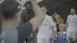 The football team go to the stadium before the match. Dynamo Kiev Footage