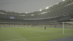 "A large stadium during a football match. ""Olimpiyskiy"". Kiev (Kyiv). Ukraine Footage"