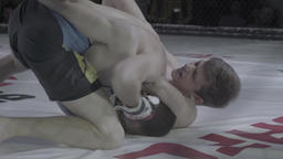 MMA. Two fighters fight each other in the octagon Footage