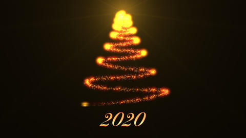 Beautiful Sparkly Christmas Tree with the text 2020 on black background. New year theme background CG動画