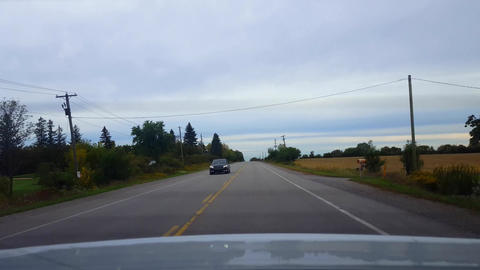 Rear View Driving Passing Slower Vehicle in Oncoming Lane. Car Point of View POV Risky Driving Live Action