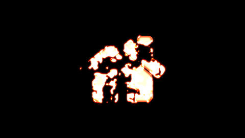 Symbol home burns out of transparency, then burns again. Alpha channel Premultiplied - Matted with Animation