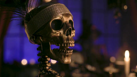 Halloween house celebrations. Skeletons and other objects Footage
