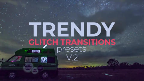 Trendy Glitch Transitions V.2 Plantillas de Premiere Pro
