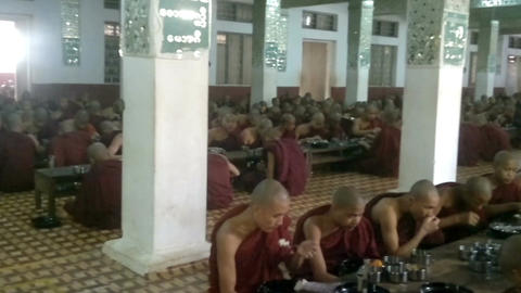 Monks During Lunch at Kalaywa Tawya Monastery in Yangon. February 23, 2014 - Mya Footage