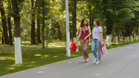 Two beautiful young women walking and chatting in the park Footage