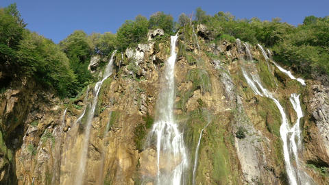 Large Waterfall at the Plitvice Lakes. Slow Motion Footage