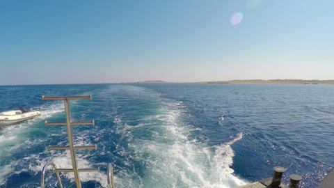 View from the back of cruise yacht Footage