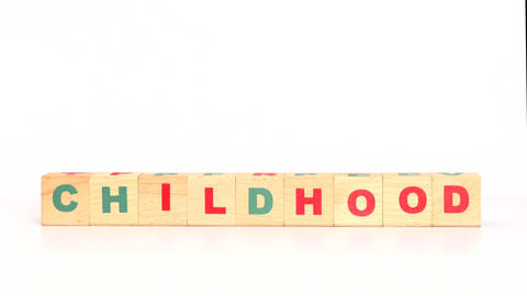 Child+hood word out of cubes Footage