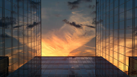 Skyscrapers and Time-Lapse Sunset Clouds Animation