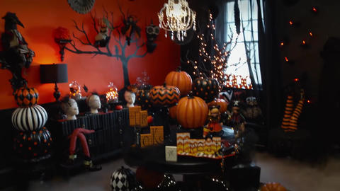 House decorated with pumpkins for Halloween Live Action