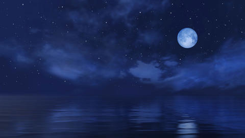 Full moon in starry night sky above calm ocean surface Live Action