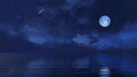 Full moon and falling stars above calm night ocean surface Live Action