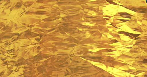 Golden foil background. Gold texture 3D rendering loop 4k Animation