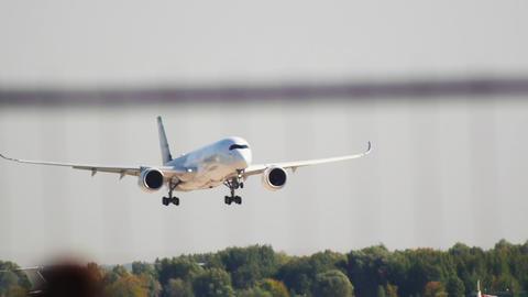 Big passenger plane landing on the runway Live Action