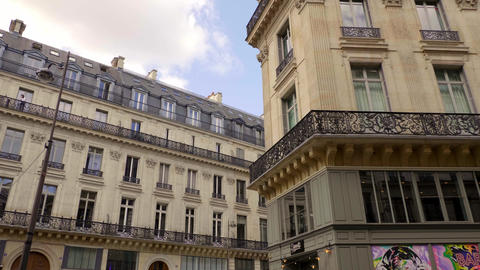 Typical street view in Paris - PARIS, FRANCE - JULY 29, 2019 Live Action
