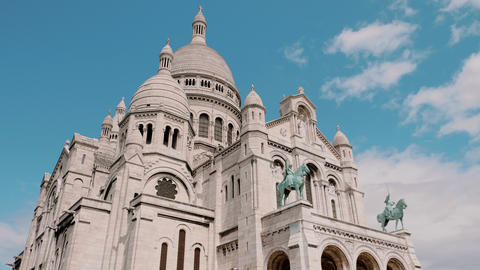 Famous Sacre Coeur Church in Paris Footage