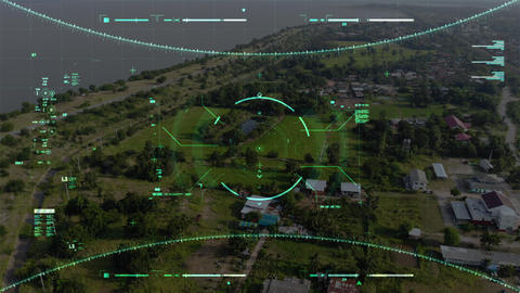 Aerial view scenic landscape with drone user interface with graph bar scale for cyber and futuristic Live Action