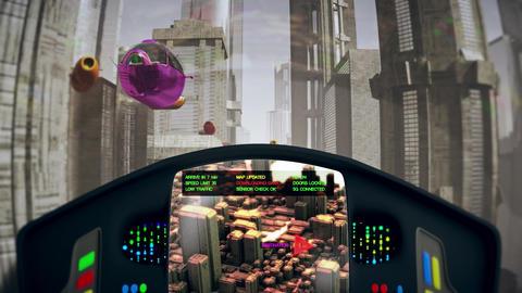 Autonomous Driverless Future Electric Vehicles Big City Traffic POV 2 Animation