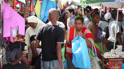 People in a market in Cape Verde Africa Footage